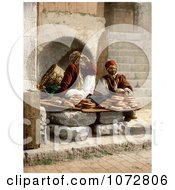 Photochrom Of Bread Vendors In Jerusalem Royalty Free Historical Stock Photography by JVPD