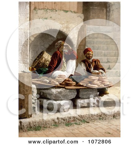 Photochrom of Bread Vendors in Jerusalem - Royalty Free Historical Stock Photography by JVPD