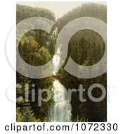 Photochrom Of Bridges Over A Mountainside Waterfall In Switzerland Royalty Free Historical Stock Photography