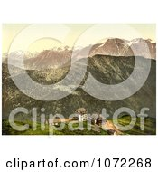 Photochrom Of Buildings On A Cliff In The Swiss Alps Royalty Free Historical Stock Photography by JVPD