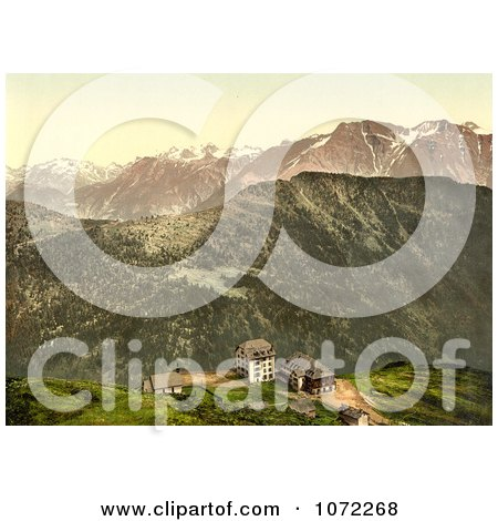 Photochrom of Buildings on a Cliff in the Swiss Alps - Royalty Free Historical Stock Photography by JVPD