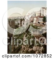 Photochrom Of Buildings On A Cliff Ravine Constantine Algeria Royalty Free Historical Stock Photography by JVPD