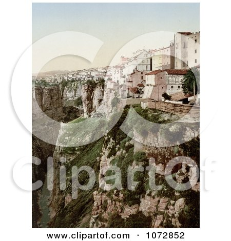 Photochrom of Buildings on a Cliff, Ravine, Constantine, Algeria - Royalty Free Historical Stock Photography by JVPD