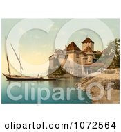 Photochrom Of Chillon Castle On Geneva Lake Switzerland Royalty Free Historical Stock Photography