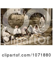 Photochrom Of Couscous Vendors Sitting Cross Legged At An Arabian Cafe Tunis Royalty Free Historical Stock Photo by JVPD