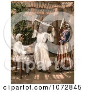 Photochrom Of Dancing Girls In Algeria Royalty Free Historical Stock Photography by JVPD