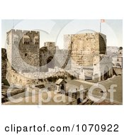 Photochrom Of David And Hippicus Towers In Jerusalem Israel Royalty Free Historical Stock Photo by JVPD
