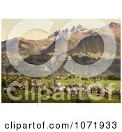 Photochrom Of Dents Du Midi And Champery Switzerland Royalty Free Historical Stock Photo by JVPD