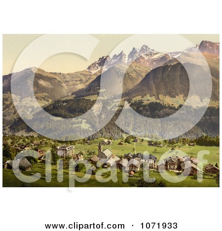 Photochrom of Dents du Midi and Champery, Switzerland - Royalty Free Historical Stock Photo by JVPD