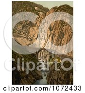 Photochrom Of DevilS Bridge In Switzerland Royalty Free Historical Stock Photography