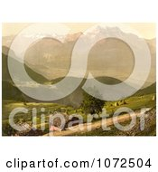 Photochrom Of Dirt Road And Houses By Mountains Switzerland Royalty Free Historical Stock Photography by JVPD