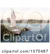 Photochrom Of Ducks And Men In Boats On The Trinity Broads Ormesby Norfolk England Royalty Free Historical Stock Photography