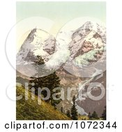 Photochrom Of Eiger And Monch Mountains In The Swiss Alps Royalty Free Historical Stock Photography