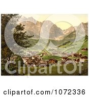 Photochrom Of Engelberg Valley And Juchlipass In Switzerland Royalty Free Historical Stock Photography