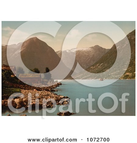 Photochrom of Essefjord, Balholm, Sognefjord, Norway - Royalty Free Historical Stock Photography by JVPD