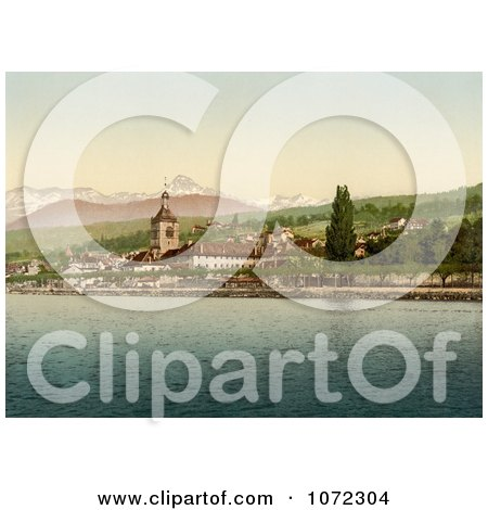 Photochrom of Evian Les Bains on Geneva Lake, Switzerland - Royalty Free Historical Stock Photography by JVPD