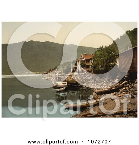 Photochrom of Fagerstrand, Telemark, Norway - Royalty Free Historical Stock Photography by JVPD