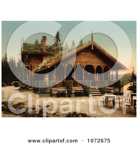 Photochrom of Fossestuen Hotel, Norway - Royalty Free Historical Stock Photography by JVPD