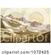 Photochrom Of Furka Pass In Switzerland Royalty Free Historical Stock Photography by JVPD