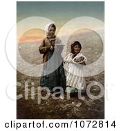 Photochrom Of Girls In Jerusalem Israel Royalty Free Historical Stock Photography by JVPD