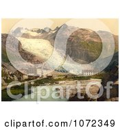 Photochrom Of Glacier Hotel And Rhone Glacier Royalty Free Historical Stock Photography by JVPD