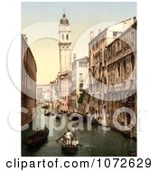 Photochrom Of Gondolas And Waterfront Buildings Venice Royalty Free Historical Stock Photography by JVPD