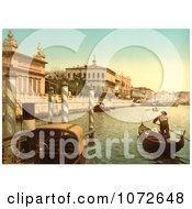 Photochrom Of Gondolas In Canal Venice Royalty Free Historical Stock Photography
