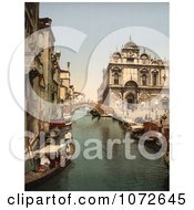 Photochrom Of Gondolas On Canal Venice Royalty Free Historical Stock Photography