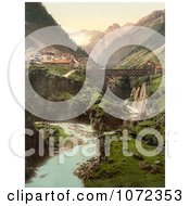 Photochrom Of Goschenen And The Damma Glacier Switzerland Royalty Free Historical Stock Photography by JVPD