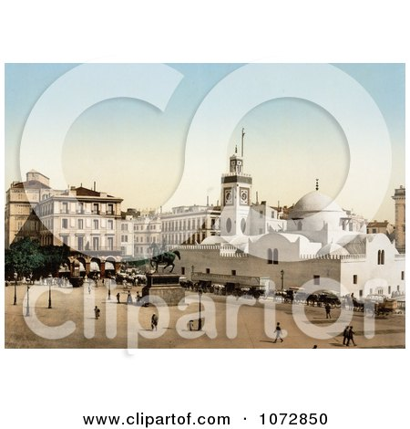 Photochrom of Government Place, Algiers, Algeria - Royalty Free Historical Stock Photography by JVPD