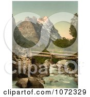 Photochrom Of Grindelwald And Eiger Mountain Royalty Free Historical Stock Photography by JVPD