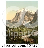 Photochrom Of Grindelwald Switzerland Royalty Free Historical Stock Photography by JVPD