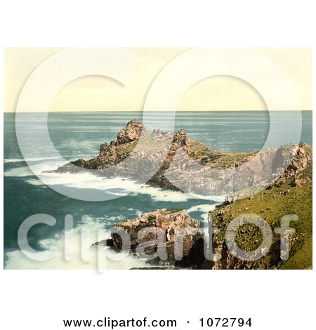 Photochrom of Gurnard's Head, St Ives - Royalty Free Historical Stock Photography by JVPD