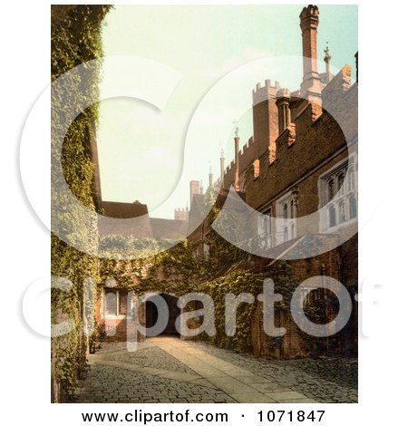 Photochrom of Hampton Court Palace Gateway - Royalty Free Historical Stock Photo by JVPD