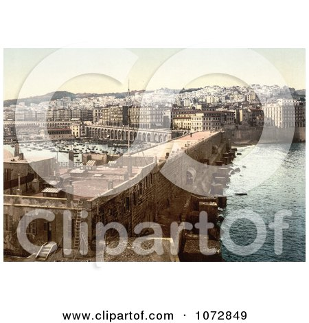 Photochrom of Harbor in Algiers, Algeria - Royalty Free Historical Stock Photography by JVPD