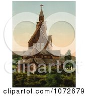 Photochrom Of Hitterdals Church Norway Royalty Free Historical Stock Photography by JVPD