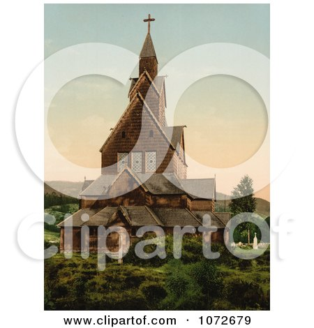 Photochrom of Hitterdals Church, Norway - Royalty Free Historical Stock Photography by JVPD