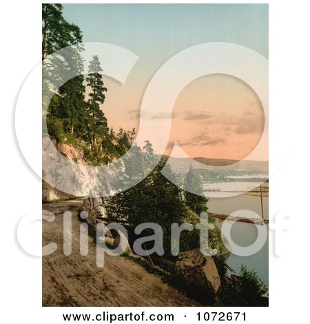 Photochrom of Hitterdals Lake, Norway - Royalty Free Historical Stock Photography by JVPD