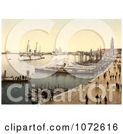 Photochrom Of Hohenzollern In Venice Harbor Venice Italy Royalty Free Historical Stock Photography by JVPD