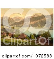 Photochrom Of Homes Church Lake Thun And Mountains Switzerland Royalty Free Historical Stock Photography by JVPD
