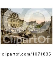 Photochrom Of Horse Drawn Carriages And Trolly Theaterplatz Bukharest Rouma Royalty Free Historical Stock Photo