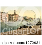Photochrom Of Hotel Bauer Grunewald Venice Italy Royalty Free Historical Stock Photography by JVPD