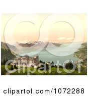 Photochrom Of Hotel De Caux And Geneva Lake Royalty Free Historical Stock Photography by JVPD