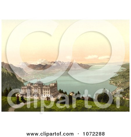 Photochrom of Hotel de Caux and Geneva Lake - Royalty Free Historical Stock Photography by JVPD