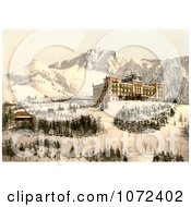Photochrom Of Hotel De Caux Ochers De Naye And Dent De Jaman In Winter Royalty Free Historical Stock Photography