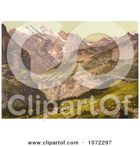 Photochrom of Hotel Jungfrau in the Swiss Alps - Royalty Free Historical Stock Photography by JVPD