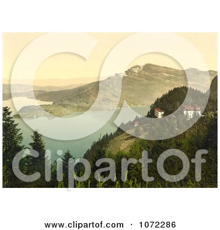 Photochrom of Hotels at Lake Lucerne - Royalty Free Historical Stock Photography by JVPD