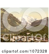 Photochrom Of Interlaken And Jungfrau In Switzerland Royalty Free Historical Stock Photography