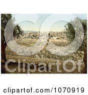 Photochrom Of Jerusalem From The Mount Of Olives Royalty Free Historical Stock Photo by JVPD