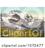 Photochrom Of Jungfrau Mountain And Scheidegg Pass Royalty Free Historical Stock Photography